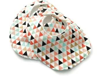Drool BIbs - Set of 2 New Baby Bibs - Unisex Baby Bibs - Bibs for Twins - Triangles - Baby Gift Under 15
