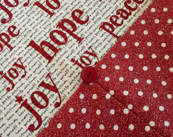 Christmas Table Runner - Red and White Holiday Table Runner - Words of Hope