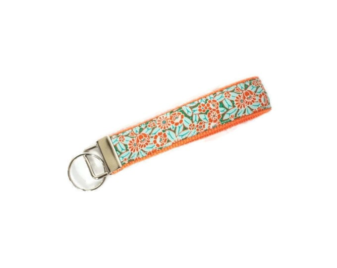 Floral Key Fob - Orange and Aqua Key Ring - Stocking Stuffer