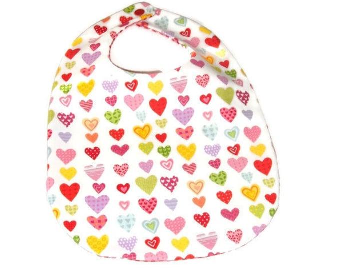 Baby Girl Bib - Valentine Bib -  Hearts Baby Bib - Pink Gingham Check