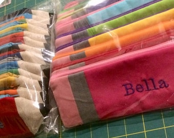 PERSONALIZED Pencil Pouch-Stocking Stuffer- Birthday Party Favor - Gift Under 15