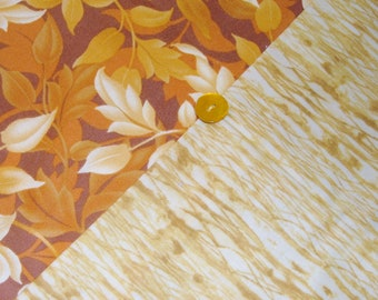 Thanksgiving Table Runner - Reversible - Leaves of Gold on Brown with Gold and Cream