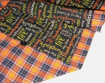 Thanksgiving Table Runner - Reversible to Orange and Black - Casual Thanksgiving Decor