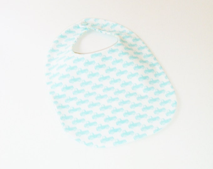 Baby Boy Bib - Tiny Trucks - Pickup Trucks - Baby Blue and White - Baby Gift Under 10