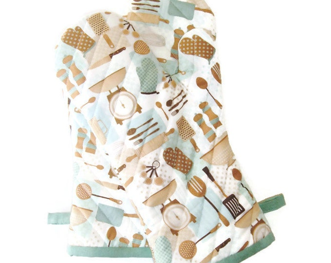 Oven Mitts - Aqua and Brown Oven Mitt - Retro-Inspired Potholders - Gift Under 40 - Mother's Day Gift