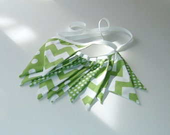 Graduation Decor - School Colors - St. Patrick's Day Bunting - Green and White -  Chevron and Dots Bunting - 9 Feet