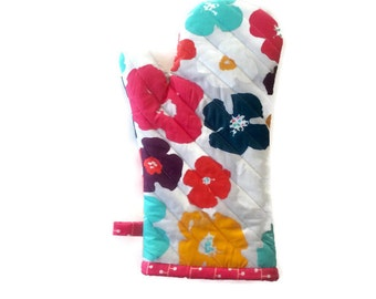 Mod Flowers Oven Mitt - Mother's Day - Gift for Mom - Gift  Under 20
