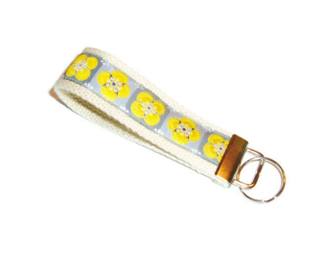 Floral Ribbon Key Fob - Gray and Yellow Keychain - Gift Under 10
