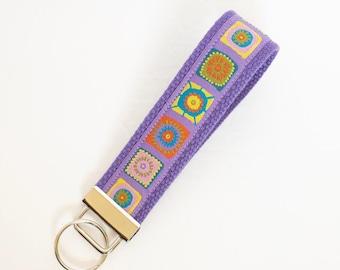 Granny Squares Key Fob - Purple Keychain - Stocking Stuffer - Gift Under 10
