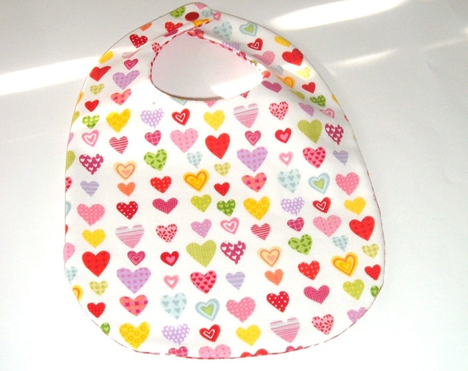 Hearts Baby Bib with Pink Gingham-Reversible