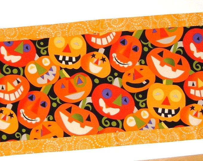 Halloween Jack O Lantern Reversible Fall Table Runner - PRICE REDUCED