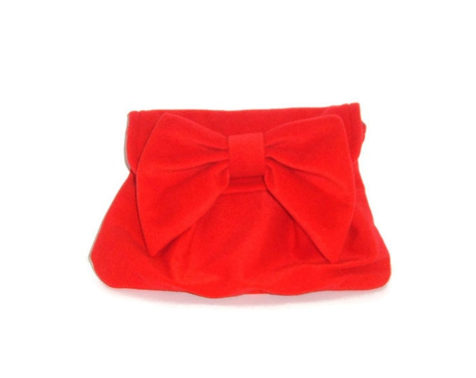 Red Clutch - Retro Chic Linen Clutch with Bow -Holiday Party Clutch