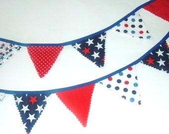 Patriotic Mini Bunting - Red White & Blue Garland-Veterans Day