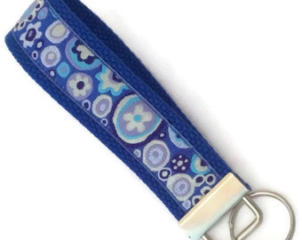 Key Fob - Mod Flowers on Blue Key Ring - Blue Keychain - Gift Under 10