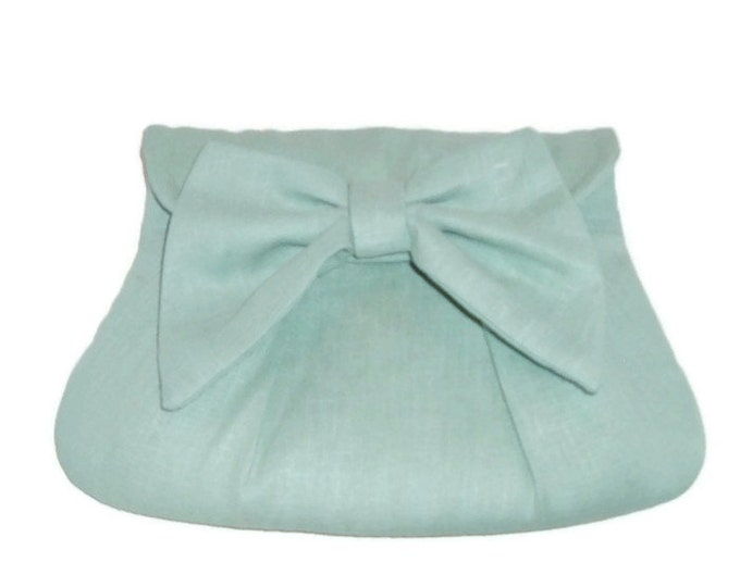 Linen Clutch with Bow - Retro Inspired Handbag - Meadow Green - Gift for Her - Gift Under 40