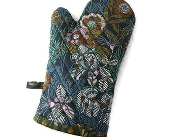 Organic Cotton Oven Glove - Oven Mitt - Floral Oven Mitt -Gift for Foodie - Gift Under 30