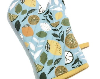Lemon Fresh Oven Mitt - Modern Kitchen Glove - Citrus Oven Mitt - Gift for Foodie