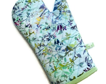 Pretty Oven Mitt - Birds and Branches - Sky Blue - Gift for Bird Lover - Oven Glove