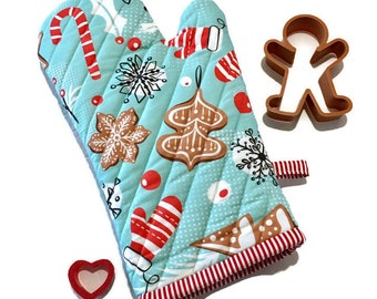 Gingerbread Oven Mitt - Christmas Oven Glove - Holiday Potholder