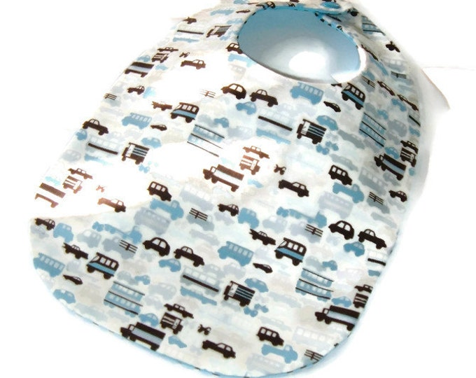 Baby Boy Bib - Tiny Cars in Blue and Gray - Baby Gift Under 10 - Gift for Baby Boy