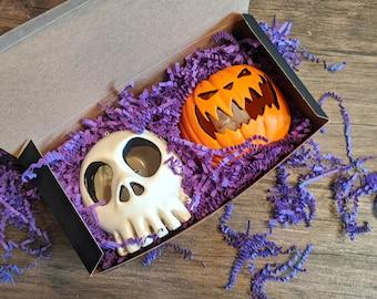 Haunted Mansion Holiday Skull and Pumpkin light up Ornament Sets