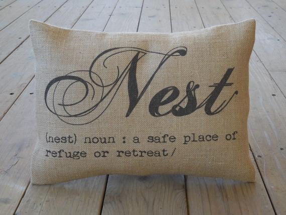 Nest Burlap Pillow House Warming Hostess Gift Shabby Etsy