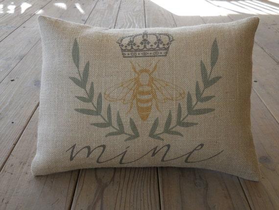 Contemporary Wedding Gifts: Items Similar To Bee Mine Burlap Pillow, Modern Wedding