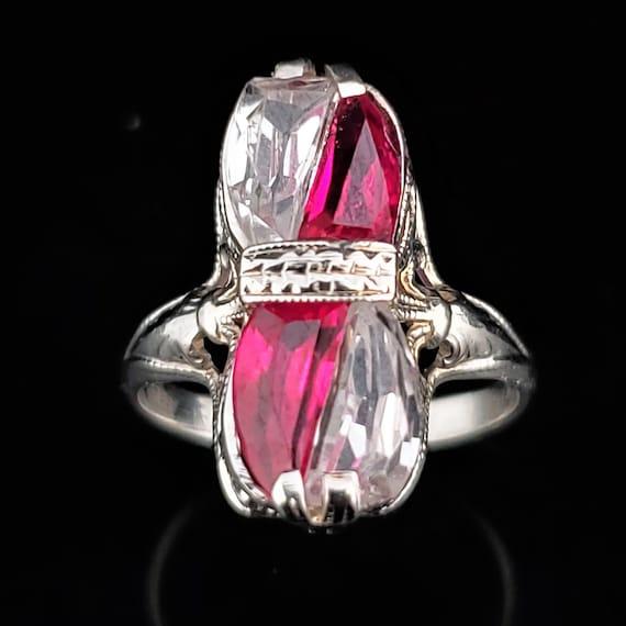 Art Deco Era White Sapphire Lab Ruby 14k White Gol