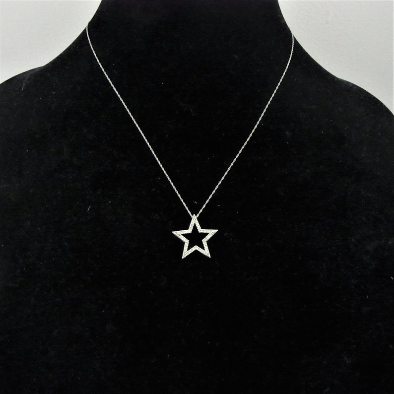 562e61cb03671 Estate Diamond Star 10k White Gold Necklace Pendant on Chain Gift LAYAWAY  AVAILABLE