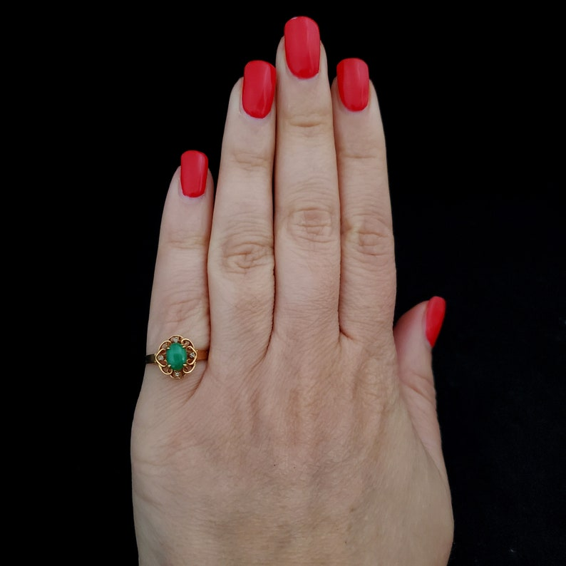 Vintage Jade Diamond 14k Yellow Gold Ring Green Gift Floral Estate Jewelry LAYAWAY AVAILABLE