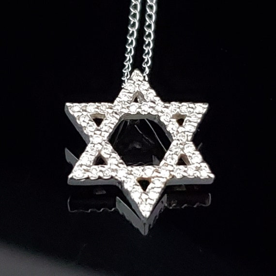 59b4dba6e3508 Estate Diamond 18k White Gold Magen Star of David Pendant 14k Chain Judaism  Gift LAYAWAY AVAILABLE