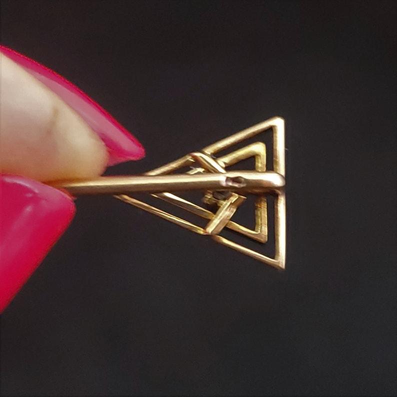 Estate Diamond 14k Yellow Gold Stick Pin Antique Vintage Estate Triangle Symbol LAYAWAY AVAILABLE