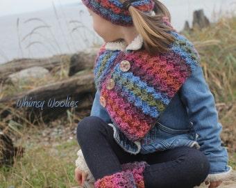Crochet Pattern: Boot Cuffs, Buttoned Scarf, Headband, Child-Women, Easy Crochet