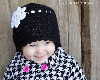 Crochet Hat Pattern: 'Wintertime Love', Crochet Cloche, Crochet Snowflake, Crochet Heart