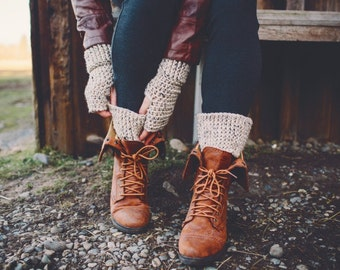 CROCHET PATTERN:  Fingerless Gloves with Boot Cuffs, Winter Fashion Accessories