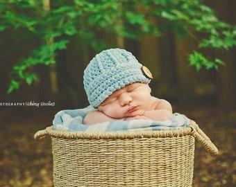 Crochet Hat Pattern: 'Keenan Cap' Boys/Girls, Crochet Beanie, Newborn to Child