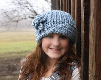 CROCHET HAT PATTERN: 'Vintage Twist Blossom' with Crochet Flower, Winter Fashion