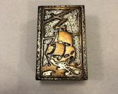 Silver Crest Silvercrest Bronze Decorated Ship Matchbox