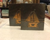 Silver Crest Silvercrest Bronze Ship Bookends