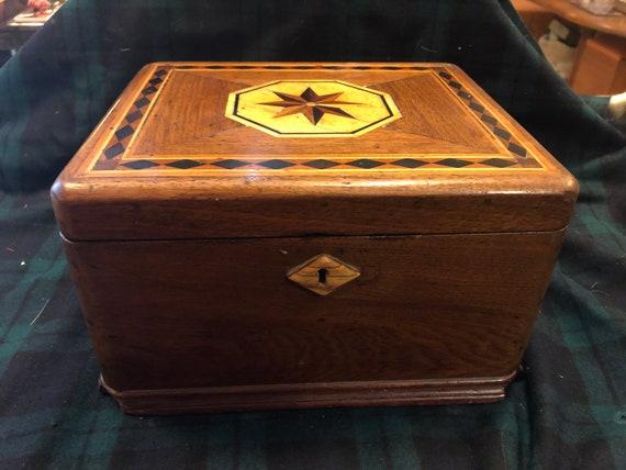 Antique Inlaid Wood Jewelry Box Gem