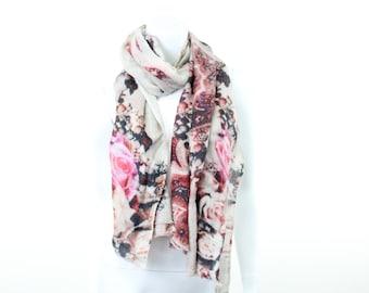 Soie laine - Digital  Print-foulard-Roses-faded-pastel-sépia-antique-daguerréotype 724a82c82f9