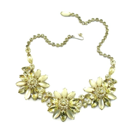 Multi-Strand Green Rhinestone Necklace Luxury Gift for Her Vintage Bib Necklace WEISS Yellow Necklace