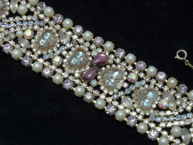 Vintage HOBE Wide Bracelet MAYORKA Petals SAPHIRET Hearts image 0