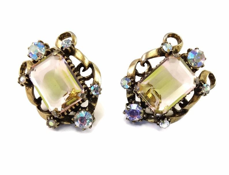 Bi-Color Art Glass /& AB Rhinestones Bracelet Vintage FLORENZA Necklace Earrings Parure SPECTACULAR Set!