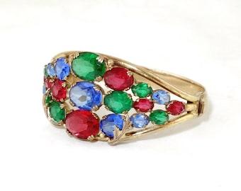 RARE Vintage CORO  Gene Verri / Adolph Katz Jewels of India Mogul Ruby Sapphire Emerald Glass Clamper Bracelet
