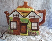 Vintage Thatched Cottage Teapot quot Ye Old Cottage quot Price Kensington Potteries Made in England