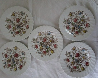 Five Bread and Butter Plates  Staffordshire Bouquet Transfer Ware  Johnson Brothers  Ironstone