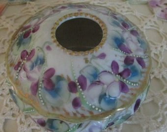 Vintage Hair Receive Hand Painted Violets Victorian Hair Receiver Vintage Collectible Re-purpose Dressing Table Decor