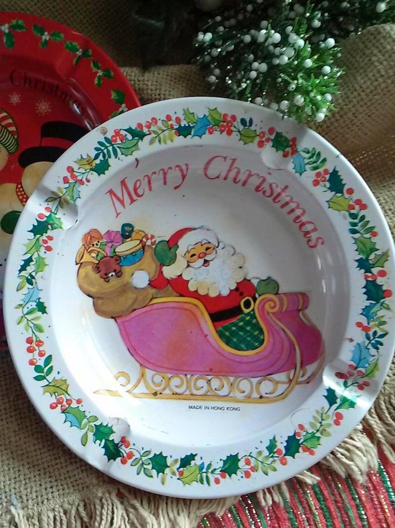 Vintage Tin Merry Christmas Santa and Snow Couple Ashtrays Vintage Metal Holiday Ashtrays Collectible Metal Ashtrays