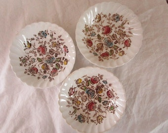 Three Berry Bowls  Staffordshire Bouquet  Transfer Ware  Johnson Brothers  England